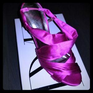 Diane Von Furstenberg Fushia Satin Slingback Heels